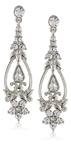 1928 Crystal Silver Tone Crystal Drop Earrings