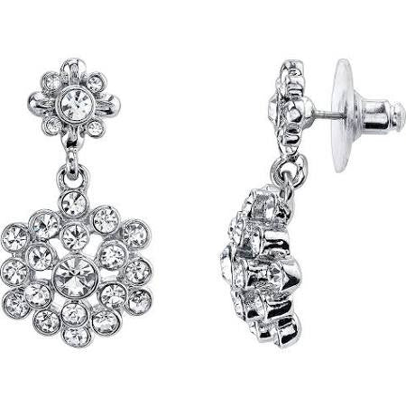 1928 Jewelry Silver-Tone Crystal Cluster Drop Earrings