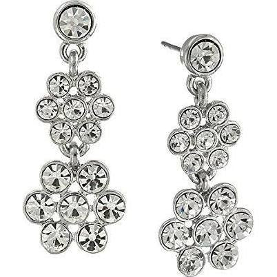 1928 Jewelry Silver-Tone Crystal Flower Drop Earrings