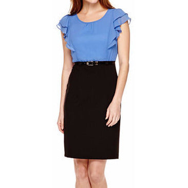 Alyx® Short-Sleeve Ruffle Layered-Look Belted Sheath Dress - Must Have Shoes and More
