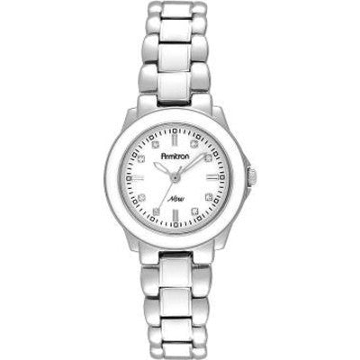 Armitron® Womens Silver-Tone & White Enamel Watch - Must Have Shoes and More