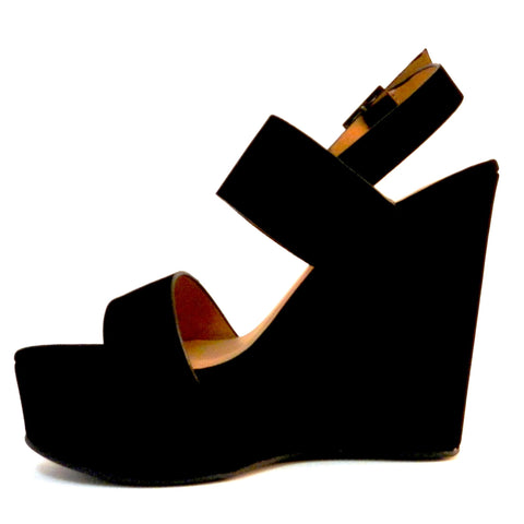 Bamboo Two Bands Open Toe Wedges - Must Have Shoes and More
