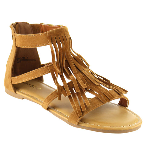Bamboo Women's Closed Back Multi Straps Flat Fringe - Must Have Shoes and More