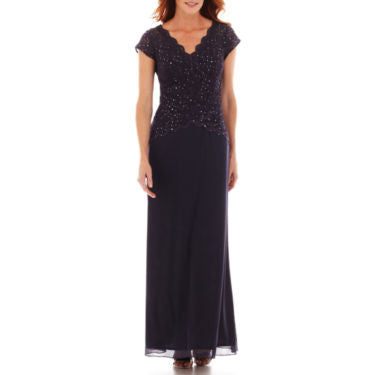 Blu Sage Short-Sleeve Lace Formal Gown - Must Have Shoes and More