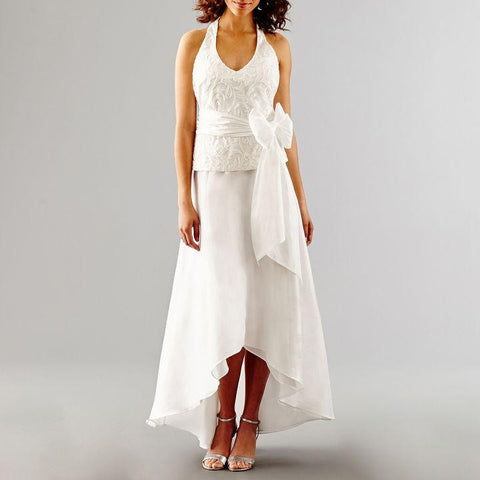 Blu Sage Sleeveless Embroidered Halter Wedding Gown - Must Have Shoes and More