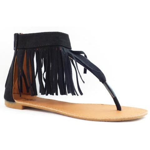 Charlotte Russe Fringe Ankle Cuff Thong Sandals - Must Have Shoes and More