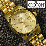 Croton Womens Diamond Accent Gold Tone  Watch