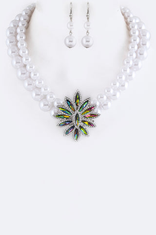 Simple Statement Crystal Two Layered Pearl Necklace and Earrings Set