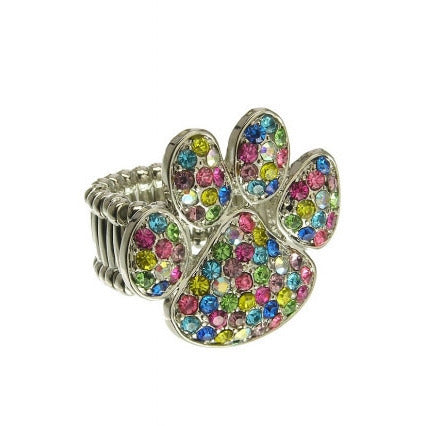 Crystal Pave Paw Print Charm Stretch Fashion Ring - Must Have Shoes and More