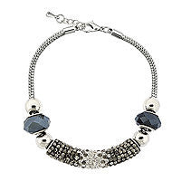 Dazzling Designs™ Silver-Plated Purple Crystal Pavé Bar Bracelet - Must Have Shoes and More