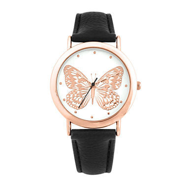 Decree Womens Butterfly Dial Black Strap Watch - Must Have Shoes and More