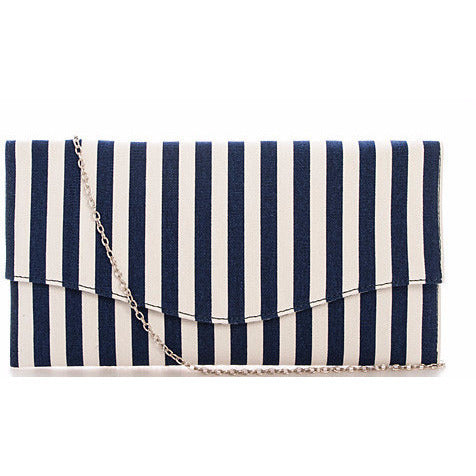 Designer Striped Clutch with Chain - Must Have Shoes and More
