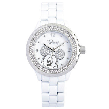 Disney White Enamel Crystal Accent Mickey Watch - Must Have Shoes and More