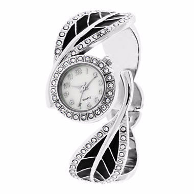 Enamel Leaf Bangle Watch - Must Have Shoes and More