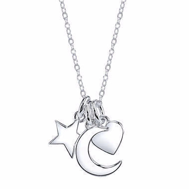 Footnotes® Sterling Silver Moon, Star & Heart Charm Necklace - Must Have Shoes and More
