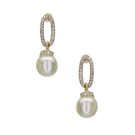 Inline Crystal Oval Casting with Dangling Faux Pearl Gold Tone Ivory - Must Have Shoes and More