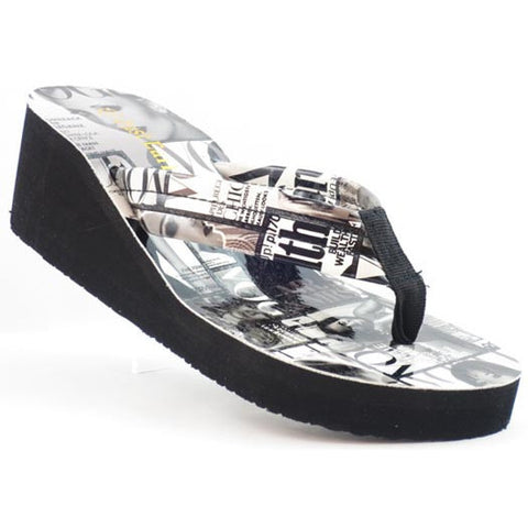 'Just Earl' Magazine Print Flip Flops Wedges Sandals - Must Have Shoes and More