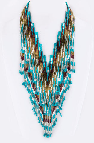 Boho Chic Fringe Beaded Necklace
