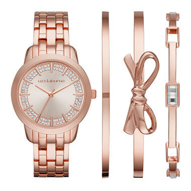 Liz Claiborne®Rose-Tone 4-pc. Bangle and Watch Set - Must Have Shoes and More