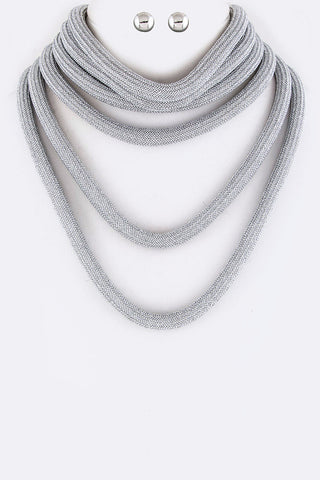 Chunky Rope Layered Statement Necklace Set