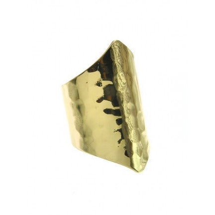 Metal Cut Hammered Texture Adjustable Ring Gold Tone - Must Have Shoes and More