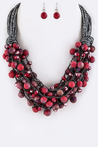 Layered Beaded Rope Fashion Necklace Set