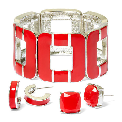 Mixit™ 3-pc. Red Silver-Tone Stretch Bracelet and Earring Set - Must Have Shoes and More