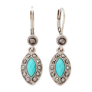 Monet® Green Silver-Tone Small Drop Earrings - Must Have Shoes and More