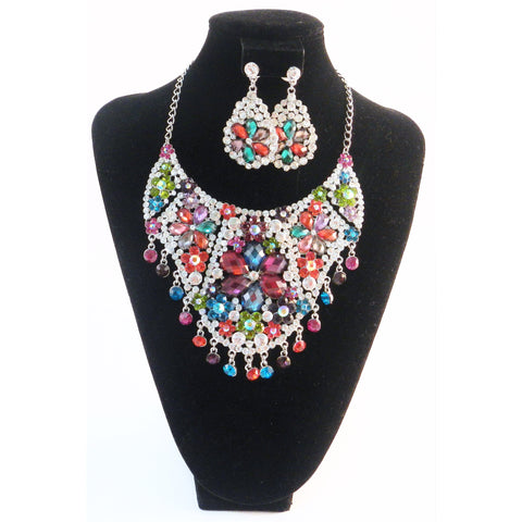 Multi Colored Rhinestone Necklace Set - Must Have Shoes and More