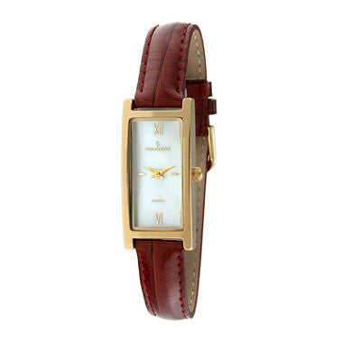 Peugeot® Womens Brown Leather Strap Rectangular Watch - Must Have Shoes and More