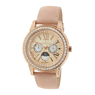 Peugeot® Womens Crystal-Accent Pink Leather Strap Moon Phase Watch - Must Have Shoes and More