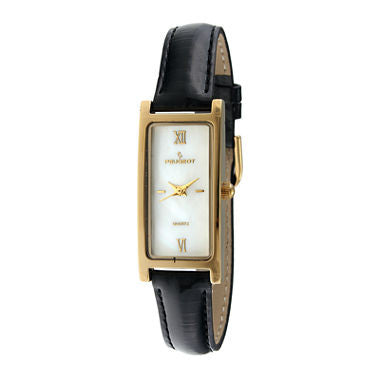 Peugeot® Womens Rectangular Black Leather Strap Slim Watch - Must Have Shoes and More