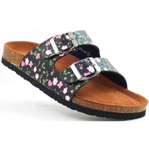 Black Floral Leo Slide Sandals - Must Have Shoes and More