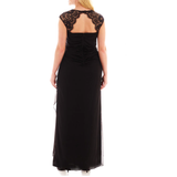 Scarlett Sleeveless Faux-Wrap Lace Trim Gown - Plus - Must Have Shoes and More