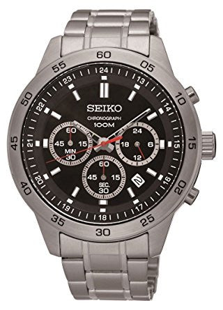 Men's Stainless Steel Black Dial Chronograph Analog Sports Watch - Must Have Shoes and More