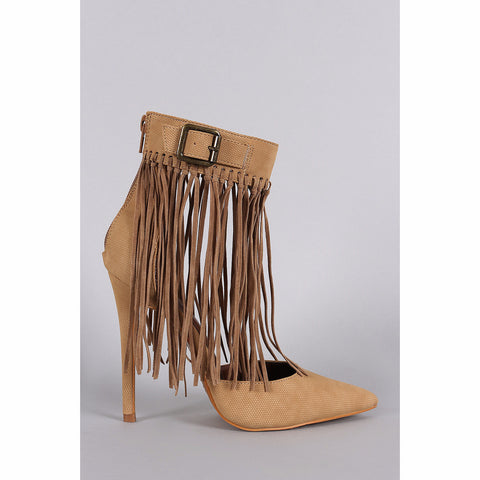 Shoe Republic La Knotted Fringe Cuff Pointed Toe Heels - Must Have Shoes and More