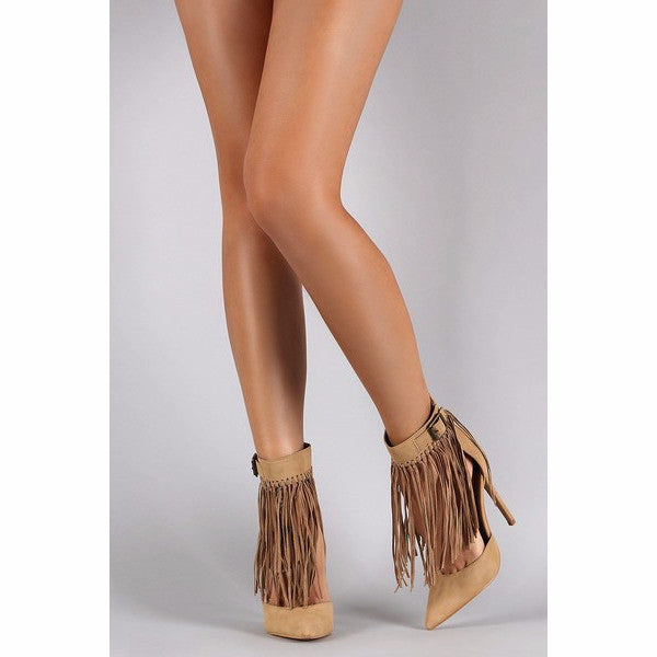 3cc365881fa7 Shoe Republic La Knotted Fringe Cuff Pointed Toe Heels - Must Have Shoes  and More