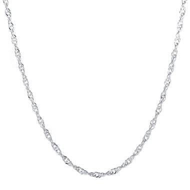 "Silver-Plated Brass 18"" Singapore Chain - Must Have Shoes and More"