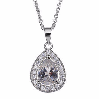 Silver Enchantment™ Cubic Zirconia Sterling Silver Teardrop Pendant Necklace - Must Have Shoes and More