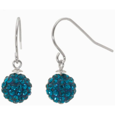 Sterling Silver Aqua Blue Crystal Ball Drop Earrings - Must Have Shoes and More