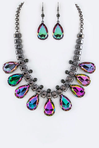 Chunky Multi Color Crystal Teardrop Statement Necklace Set