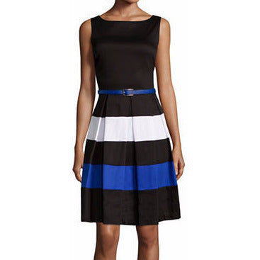 Tiana B. Sleeveless Belted Colorblock Fit-and-Flare Dress - Must Have Shoes and More