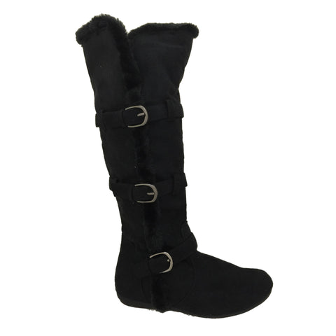 Mandie Black Flat Fur Line Boots - Must Have Shoes and More