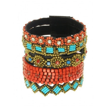 Tribal Mixed Strip Bead Strap Bracelet - Must Have Shoes and More