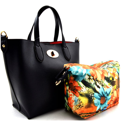 Turn-lock Accent Flower Inner Bag 2 in 1 Small Bucket Tote - Must Have Shoes and More