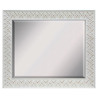 White Wash Beveled Wall Mirror - Must Have Shoes and More