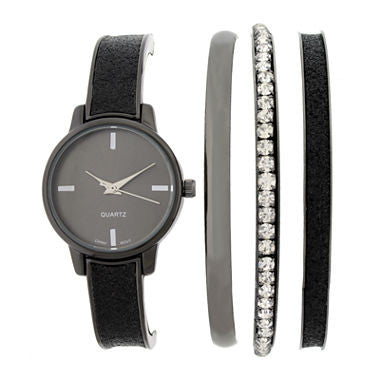 Womens Black Bangle Watch and Bracelet Set - Must Have Shoes and More
