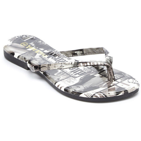 'Just Earl' Magazine Print Flip Flops Sandals - Must Have Shoes and More