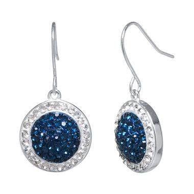 Silver-Plated Blue Crystal Drop Earrings - Must Have Shoes and More