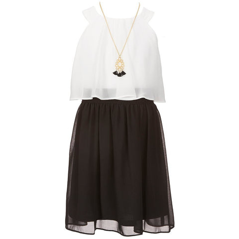 by&by Girl Chiffon Popover Dress with Necklace - Must Have Shoes and More